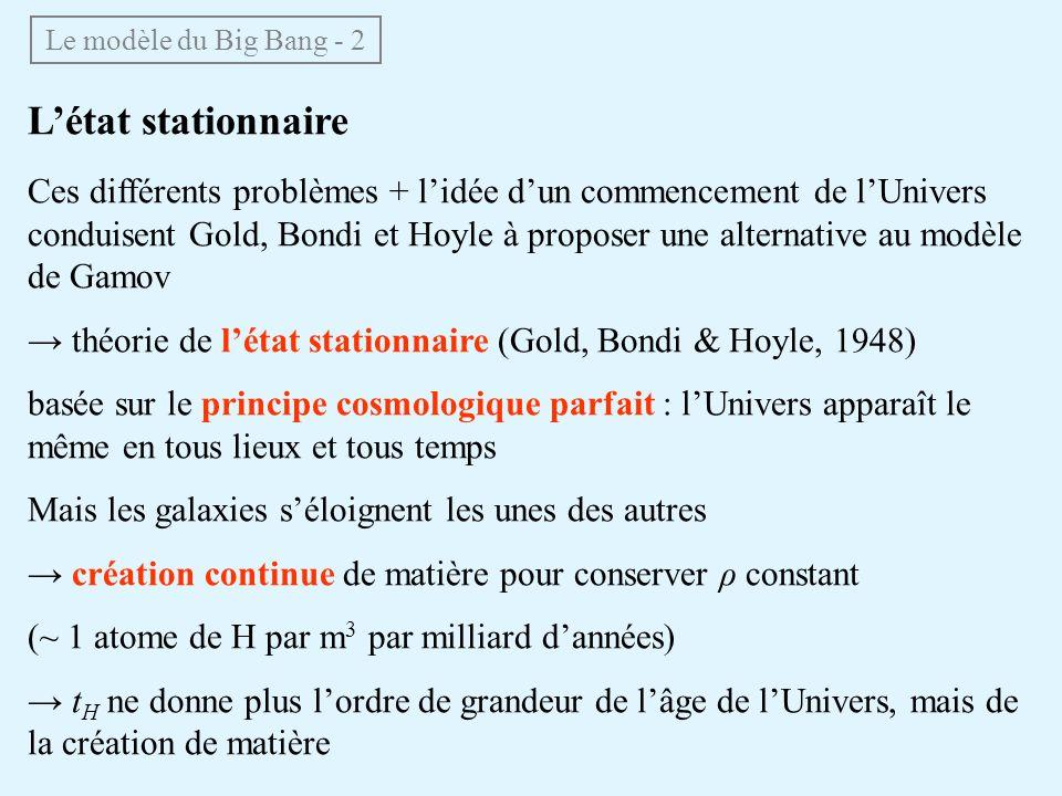 Le modèle du Big Bang - 2 Létat stationnaire Ces différents problèmes + lidée dun commencement de lUnivers conduisent Gold, Bondi et Hoyle à proposer une alternative au modèle de Gamov théorie de létat stationnaire (Gold, Bondi & Hoyle, 1948) basée sur le principe cosmologique parfait : lUnivers apparaît le même en tous lieux et tous temps Mais les galaxies séloignent les unes des autres création continue de matière pour conserver ρ constant (~ 1 atome de H par m 3 par milliard dannées) t H ne donne plus lordre de grandeur de lâge de lUnivers, mais de la création de matière