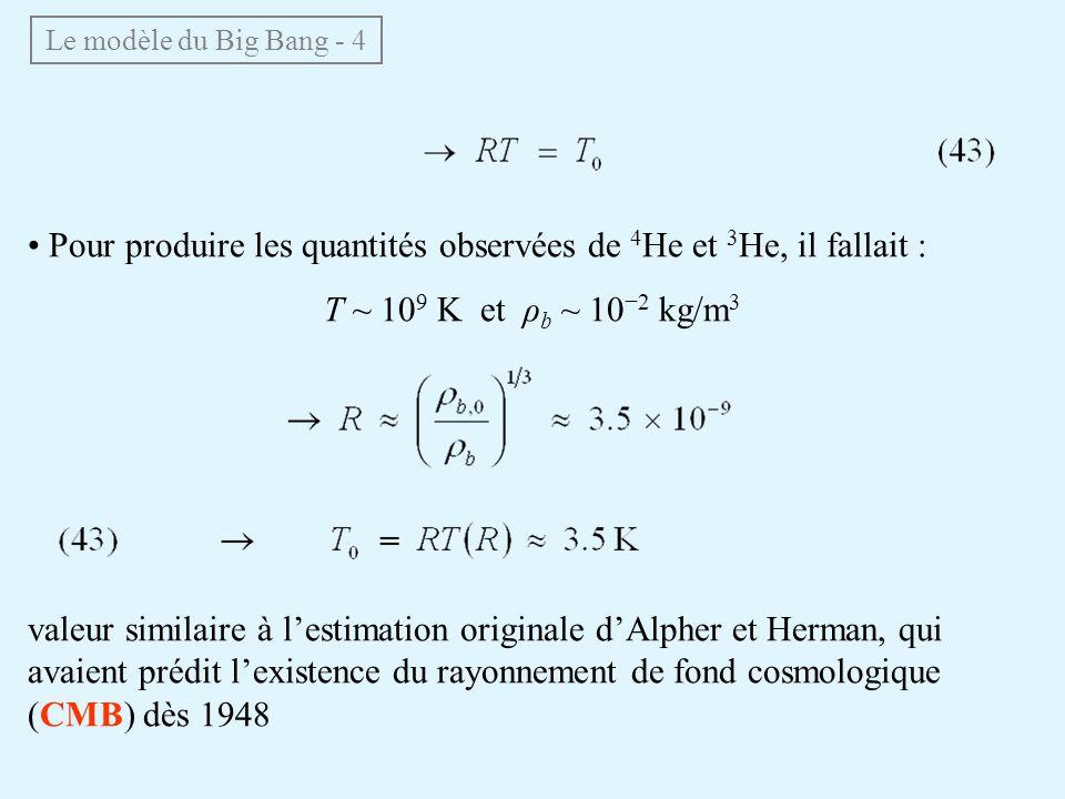 Le modèle du Big Bang - 4 Pour produire les quantités observées de 4 He et 3 He, il fallait : T ~ 10 9 K et ρ b ~ 10 2 kg/m 3 valeur similaire à lestimation originale dAlpher et Herman, qui avaient prédit lexistence du rayonnement de fond cosmologique (CMB) dès 1948
