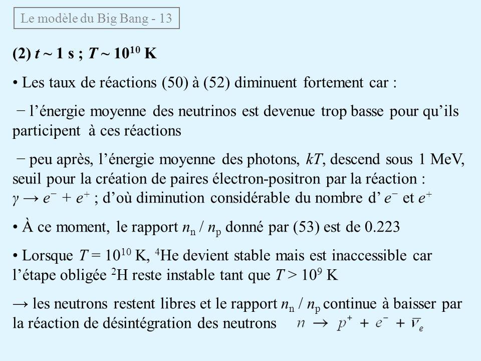 (2) t ~ 1 s ; T ~ 10 10 K Les taux de réactions (50) à (52) diminuent fortement car : lénergie moyenne des neutrinos est devenue trop basse pour quils participent à ces réactions peu après, lénergie moyenne des photons, kT, descend sous 1 MeV, seuil pour la création de paires électron-positron par la réaction : γ e + e + ; doù diminution considérable du nombre d e et e + À ce moment, le rapport n n / n p donné par (53) est de 0.223 Lorsque T = 10 10 K, 4 He devient stable mais est inaccessible car létape obligée 2 H reste instable tant que T > 10 9 K les neutrons restent libres et le rapport n n / n p continue à baisser par la réaction de désintégration des neutrons Le modèle du Big Bang - 13