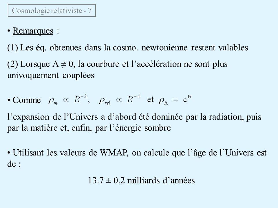 Remarques : (1) Les éq. obtenues dans la cosmo. newtonienne restent valables (2) Lorsque Λ 0, la courbure et laccélération ne sont plus univoquement c