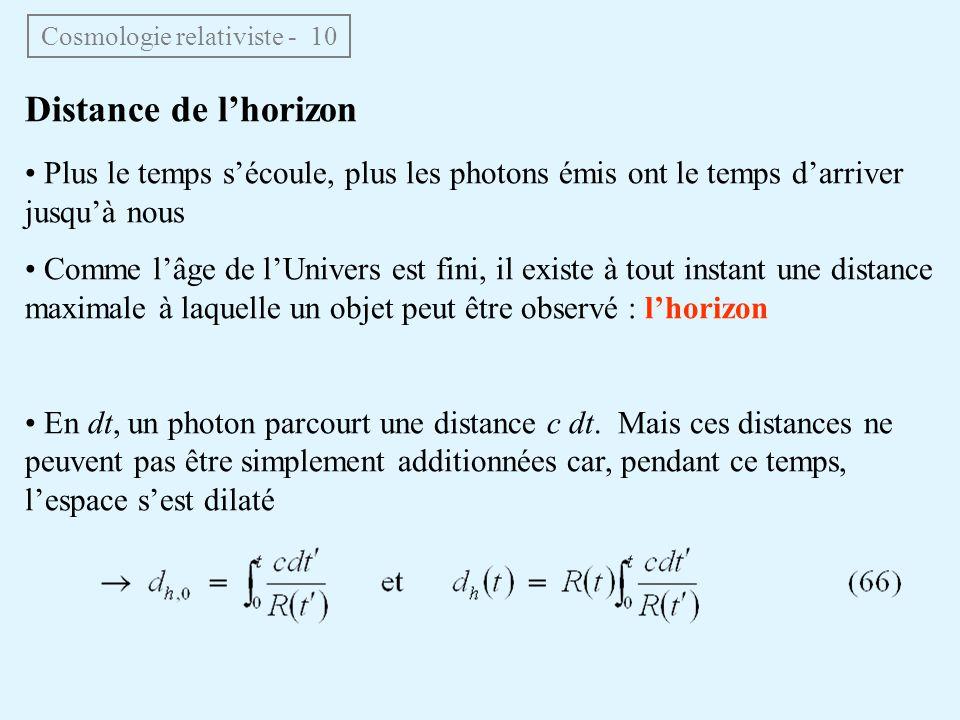Distance de lhorizon Plus le temps sécoule, plus les photons émis ont le temps darriver jusquà nous Comme lâge de lUnivers est fini, il existe à tout