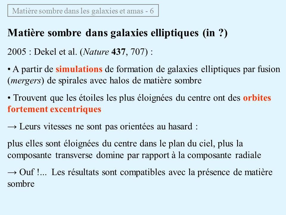 Matière sombre dans galaxies elliptiques (épisode 3) La plupart des galaxies lentilles de mirages sont des elliptiques mesure de leur masse totale grâce à leffet de mirage, en particulier si anneau dEinstein Matière sombre dans les galaxies et amas - 7 on obtient une mesure de M(r) H 0 M(r): masse à lintérieur de lanneau M déterminé avec la même précision que H 0 (~10%)