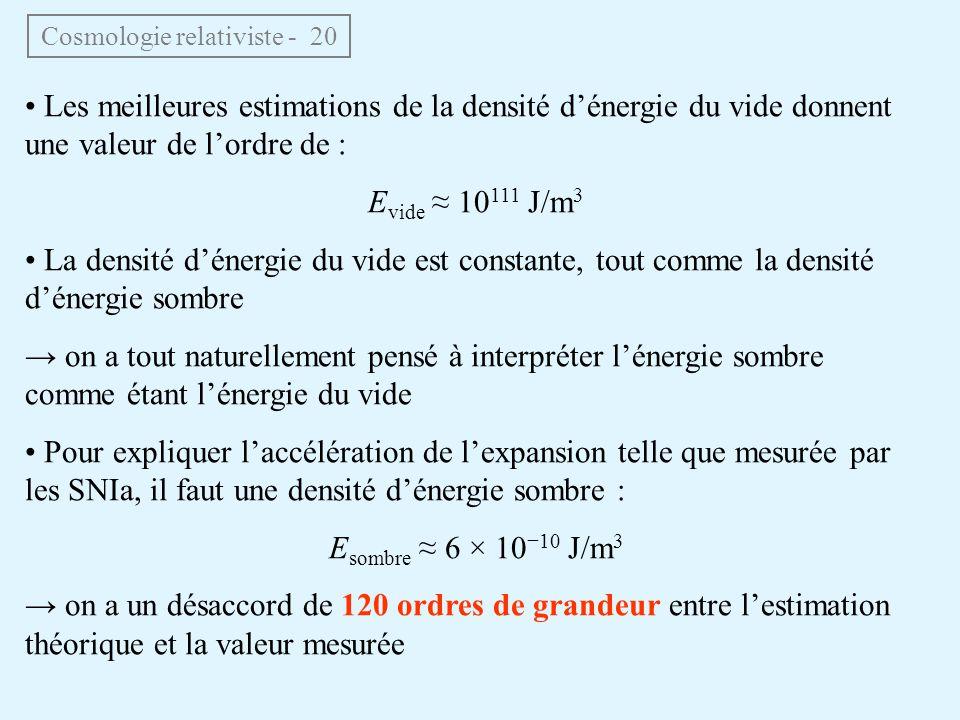 Cosmologie relativiste - 20 Les meilleures estimations de la densité dénergie du vide donnent une valeur de lordre de : E vide 10 111 J/m 3 La densité dénergie du vide est constante, tout comme la densité dénergie sombre on a tout naturellement pensé à interpréter lénergie sombre comme étant lénergie du vide Pour expliquer laccélération de lexpansion telle que mesurée par les SNIa, il faut une densité dénergie sombre : E sombre 6 × 1010 J/m 3 on a un désaccord de 120 ordres de grandeur entre lestimation théorique et la valeur mesurée