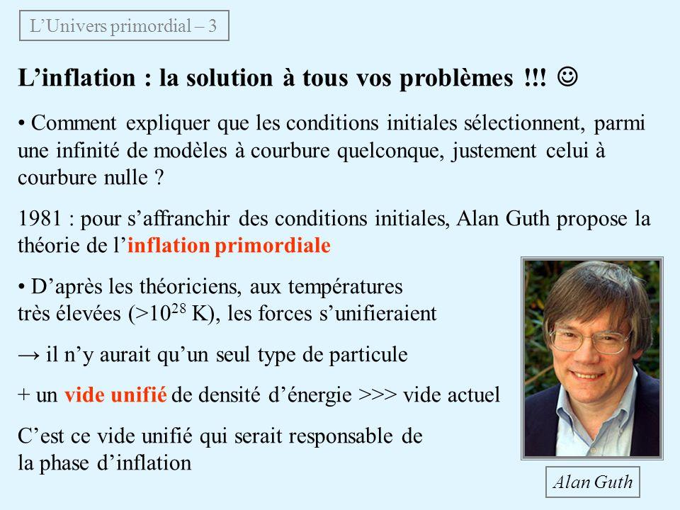 Linflation : la solution à tous vos problèmes !!! Comment expliquer que les conditions initiales sélectionnent, parmi une infinité de modèles à courbu