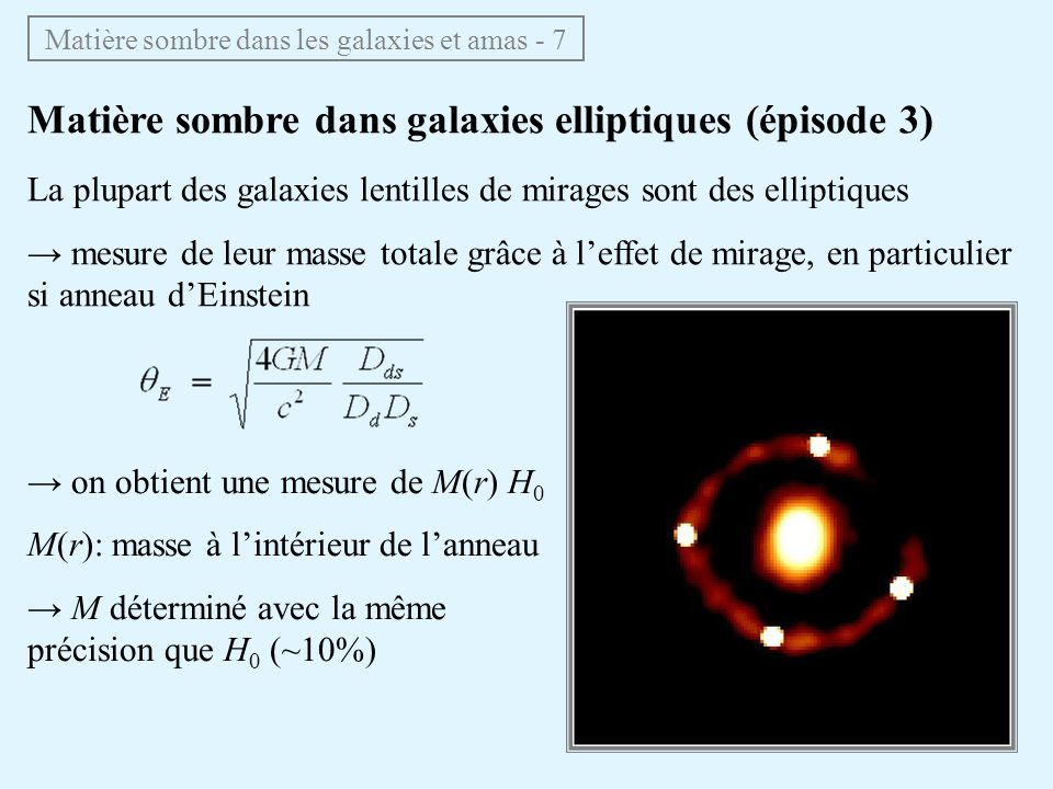 Matière sombre dans galaxies elliptiques (épisode 3) La plupart des galaxies lentilles de mirages sont des elliptiques mesure de leur masse totale grâ