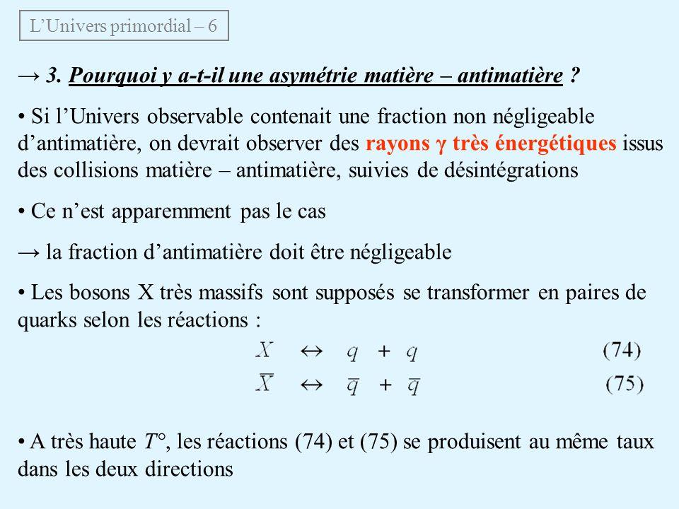 3. Pourquoi y a-t-il une asymétrie matière – antimatière ? Si lUnivers observable contenait une fraction non négligeable dantimatière, on devrait obse