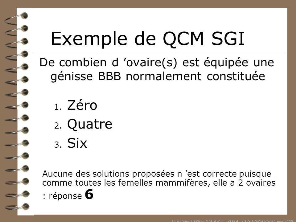 Exemple de QCM SGI De combien d ovaire(s) est équipée une génisse BBB normalement constituée 1. Zéro 2. Quatre 3. Six Aucune des solutions proposées n