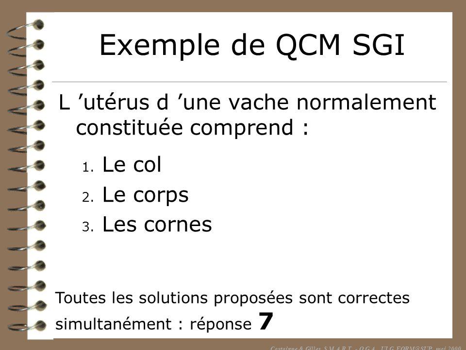 Exemple de QCM SGI L utérus d une vache normalement constituée comprend : 1. Le col 2. Le corps 3. Les cornes Toutes les solutions proposées sont corr