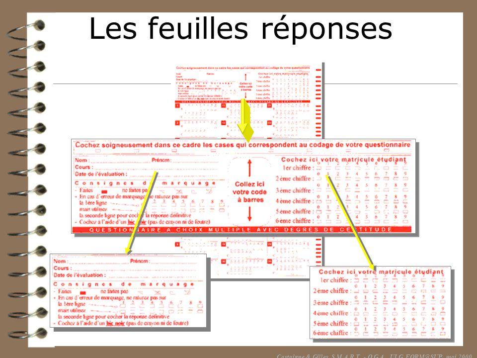Les feuilles réponses Castaigne & Gilles, S.M.A.R.T. - O.G.A., ULG FORM@SUP, mai 2000