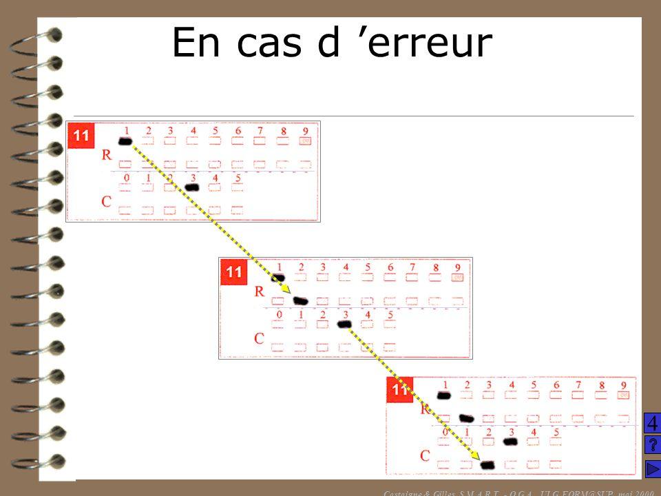 En cas d erreur Castaigne & Gilles, S.M.A.R.T. - O.G.A., ULG FORM@SUP, mai 2000 4