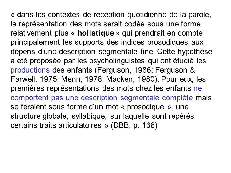 les bbs utilisent-ils leurs capacités de discrimination des sons de la parole lors de la perception des mots ? Hallé & De Boysson-Bardies, 1994 Effet