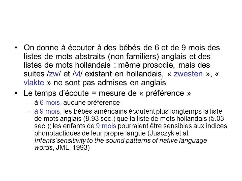 Indices phonotactiques Certaines séquences de phonèmes ne sont possibles quà la frontière entre deux mots et sont donc des indices de segmentation; ex