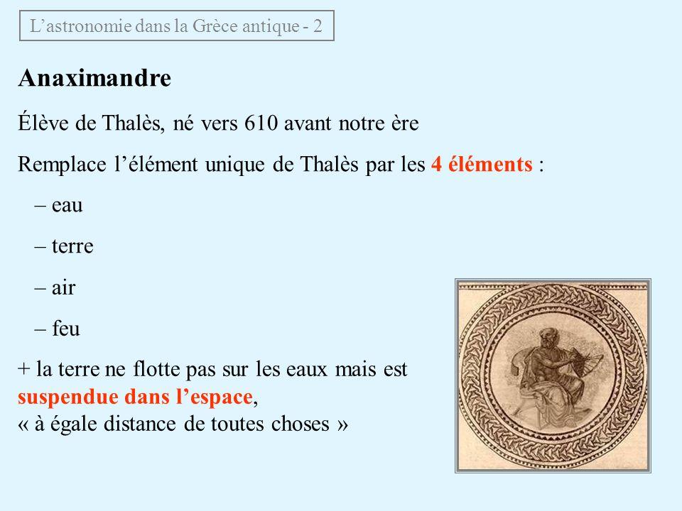 Anaximandre Élève de Thalès, né vers 610 avant notre ère Remplace lélément unique de Thalès par les 4 éléments : – eau – terre – air – feu + la terre
