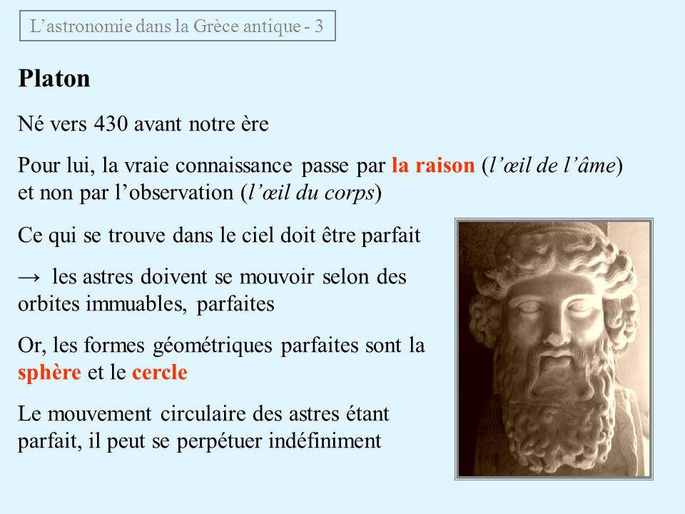 Platon Né vers 430 avant notre ère Pour lui, la vraie connaissance passe par la raison (lœil de lâme) et non par lobservation (lœil du corps) Ce qui s