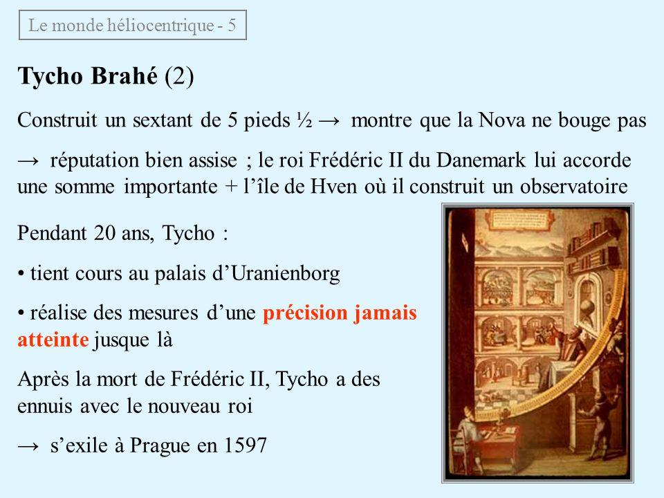 Pendant 20 ans, Tycho : tient cours au palais dUranienborg réalise des mesures dune précision jamais atteinte jusque là Après la mort de Frédéric II,
