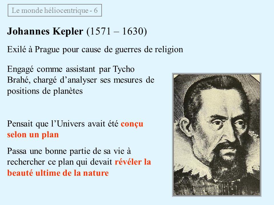 Engagé comme assistant par Tycho Brahé, chargé danalyser ses mesures de positions de planètes Pensait que lUnivers avait été conçu selon un plan Passa