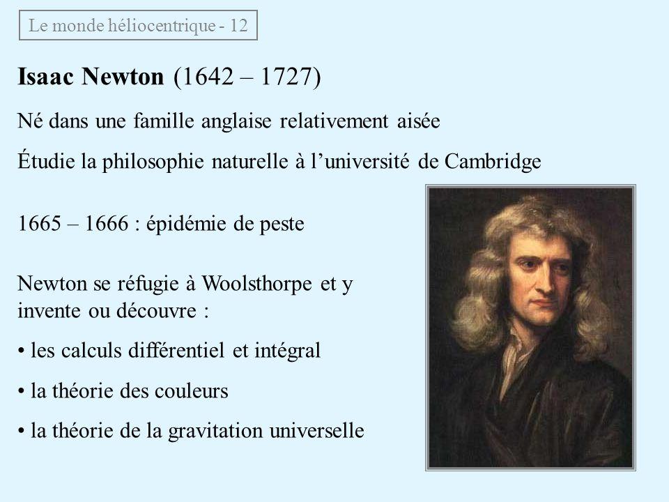 1665 – 1666 : épidémie de peste Newton se réfugie à Woolsthorpe et y invente ou découvre : les calculs différentiel et intégral la théorie des couleur