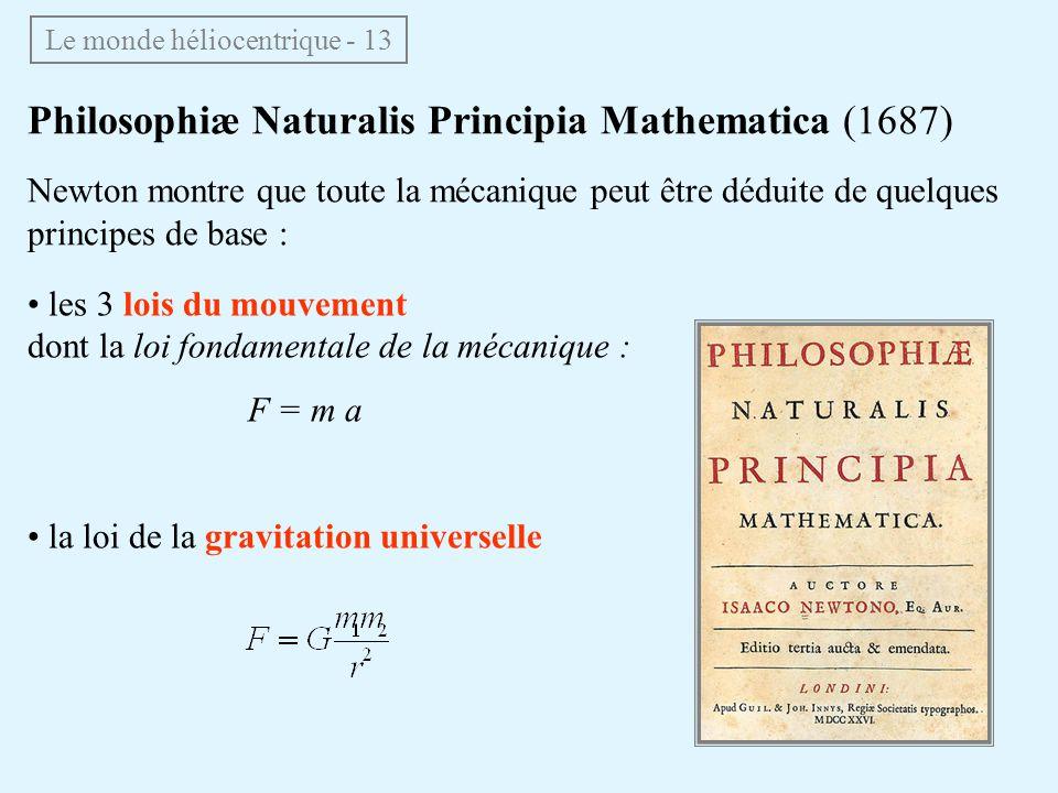 les 3 lois du mouvement dont la loi fondamentale de la mécanique : F = m a la loi de la gravitation universelle Le monde héliocentrique - 13 Philosoph