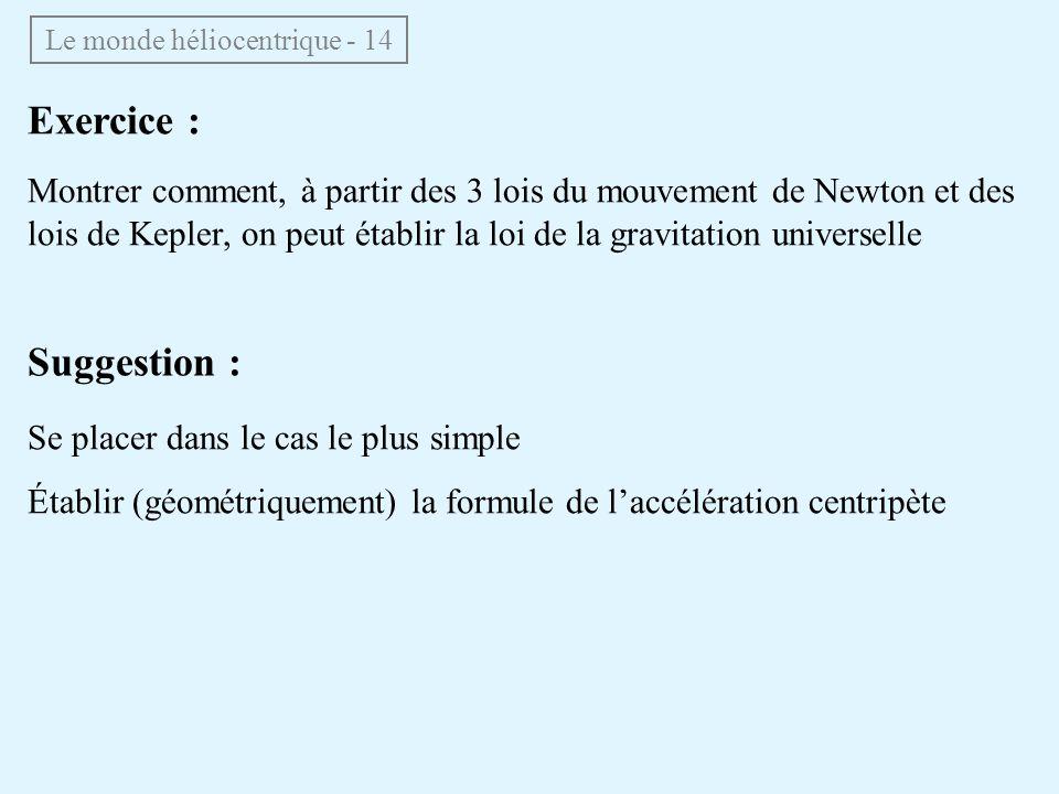 Le monde héliocentrique - 14 Exercice : Montrer comment, à partir des 3 lois du mouvement de Newton et des lois de Kepler, on peut établir la loi de l