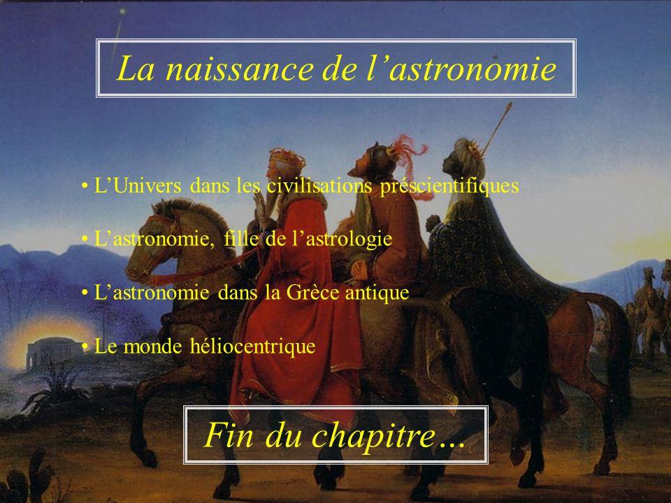 LUnivers dans les civilisations préscientifiques Lastronomie, fille de lastrologie Lastronomie dans la Grèce antique Le monde héliocentrique La naissa