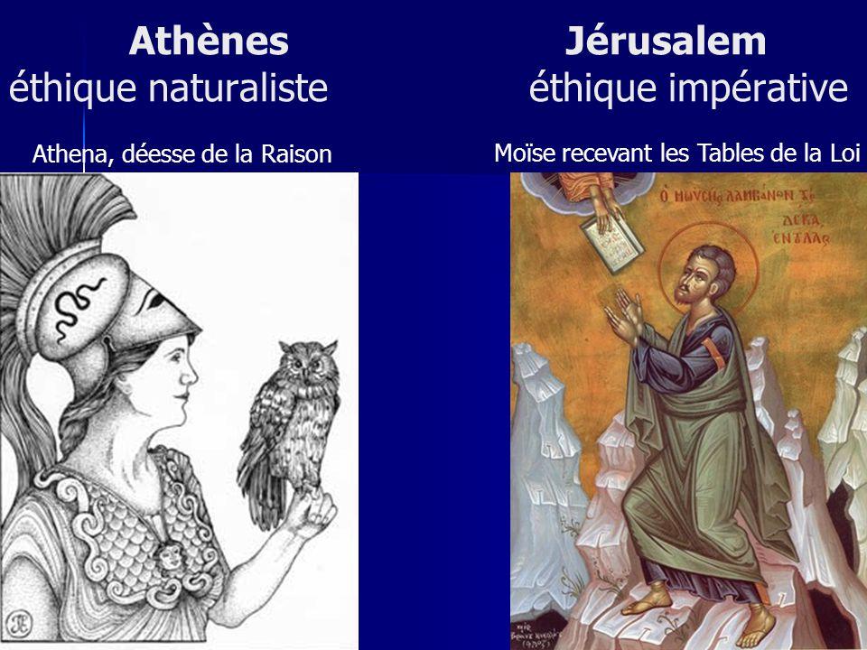 Athènes Jérusalem éthique naturaliste éthique impérative Athena, déesse de la Raison Moïse recevant les Tables de la Loi