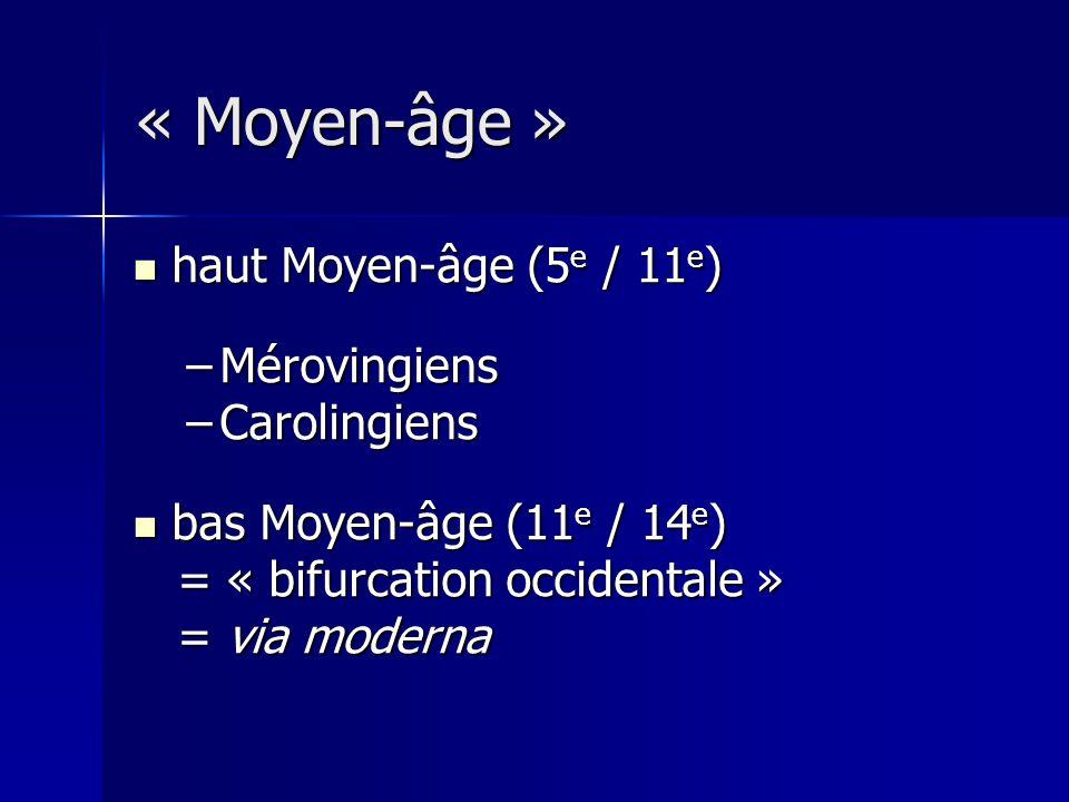 haut Moyen-âge (5 e / 11 e ) haut Moyen-âge (5 e / 11 e ) –Mérovingiens –Carolingiens bas Moyen-âge (11 e / 14 e ) bas Moyen-âge (11 e / 14 e ) = « bi
