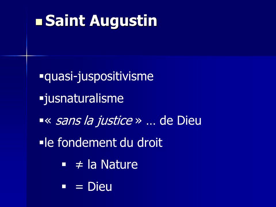 quasi-juspositivisme jusnaturalisme « sans la justice » … de Dieu le fondement du droit la Nature = Dieu Saint Augustin Saint Augustin