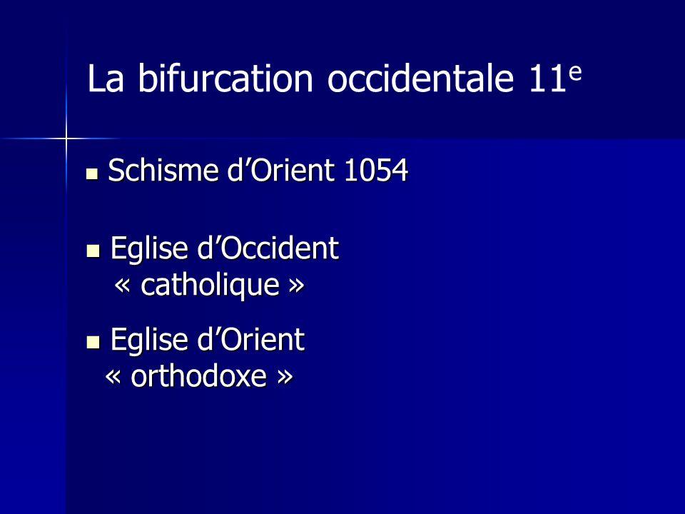 La bifurcation occidentale 11 e Schisme dOrient 1054 Schisme dOrient 1054 Eglise dOccident Eglise dOccident « catholique » « catholique » Eglise dOrie