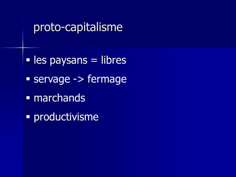 les paysans = libres servage -> fermage marchands productivisme proto-capitalisme proto-capitalisme