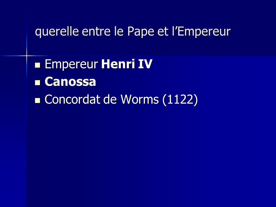 Empereur Henri IV Empereur Henri IV Canossa Canossa Concordat de Worms (1122) Concordat de Worms (1122) querelle entre le Pape et lEmpereur