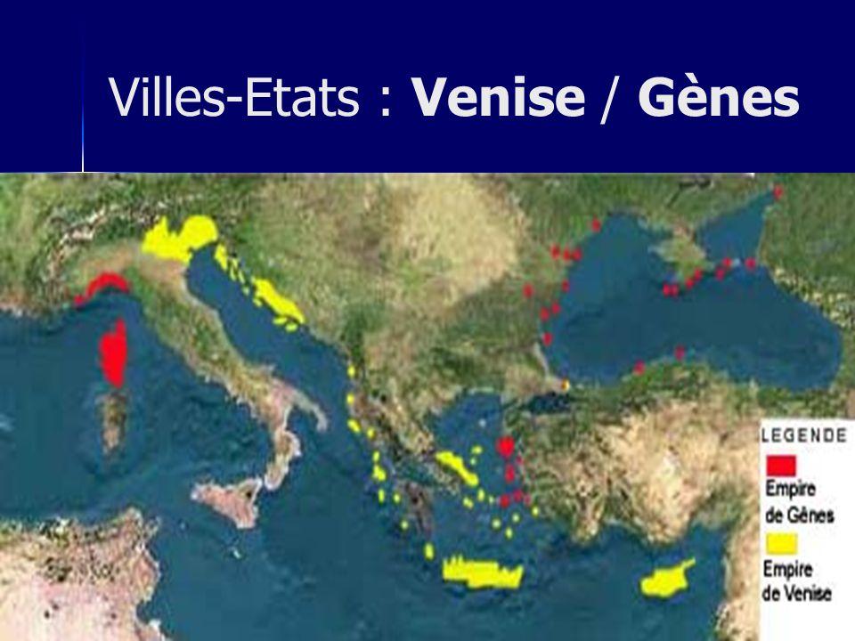 ordre marchand Venise : les Doges guildes valorisation de la vie terrestre déclin de lidéologie augustinienne attente passive -> attente active Villes