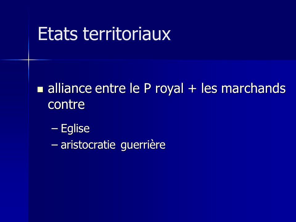 alliance entre le P royal + les marchands contre alliance entre le P royal + les marchands contre –Eglise –aristocratie guerrière Etats territoriaux