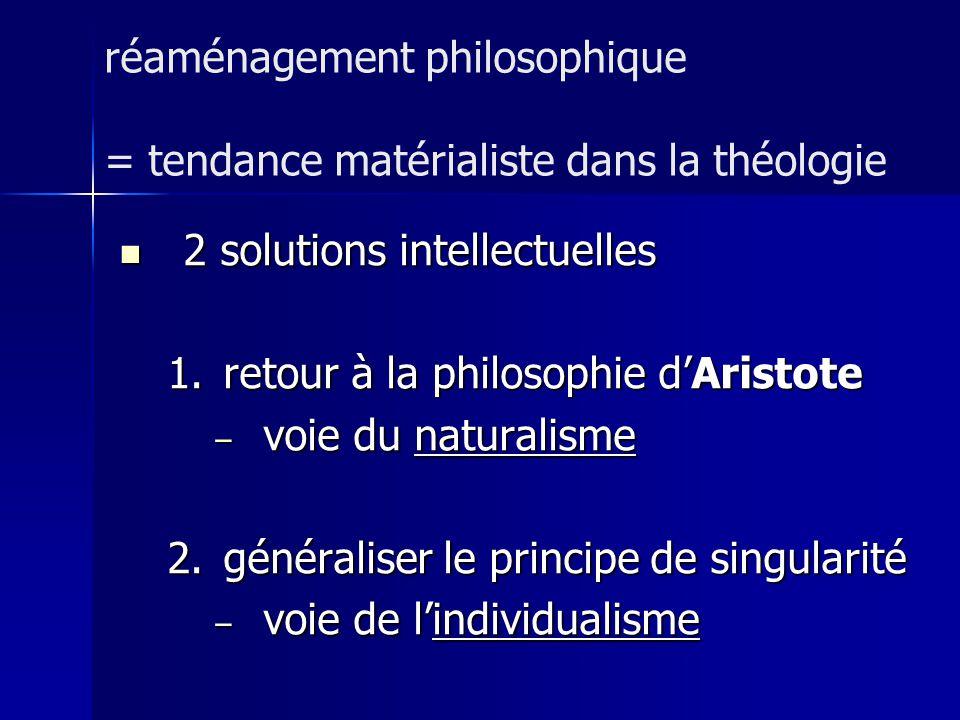 2 solutions intellectuelles 2 solutions intellectuelles 1.retour à la philosophie dAristote – voie du naturalisme 2.généraliser le principe de singula