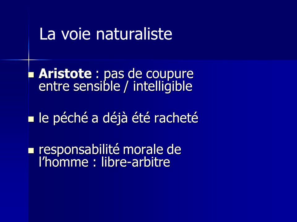 La voie naturaliste Aristote : pas de coupure entre sensible / intelligible Aristote : pas de coupure entre sensible / intelligible le péché a déjà ét