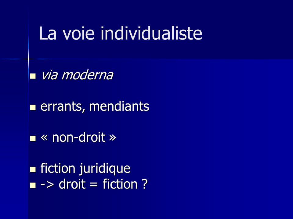 via moderna via moderna errants, mendiants errants, mendiants « non-droit » « non-droit » fiction juridique fiction juridique -> droit = fiction ? ->