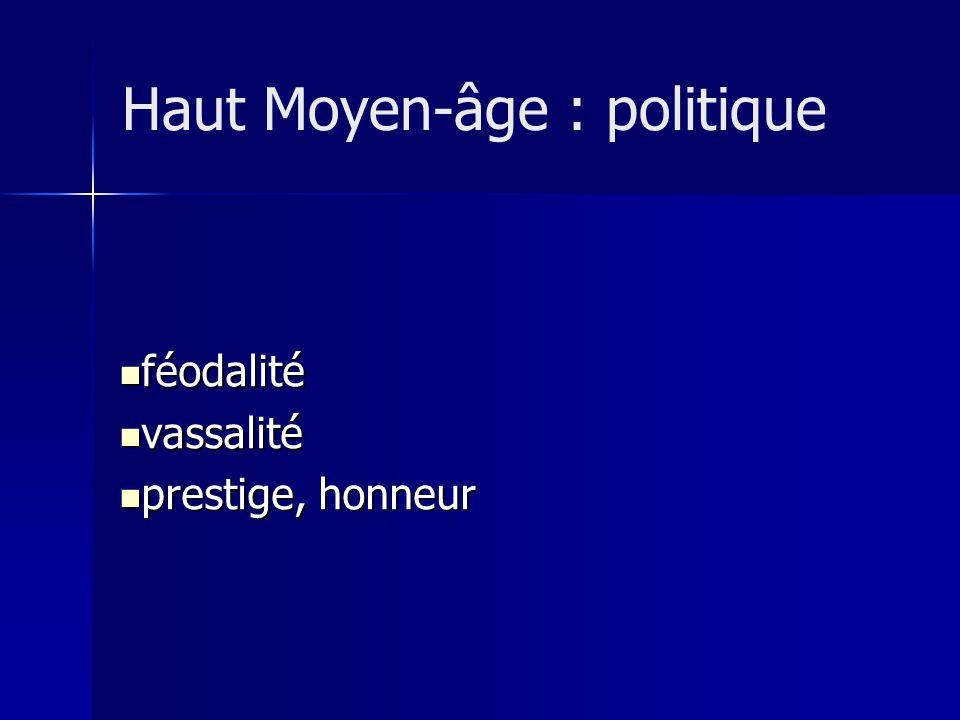 féodalité féodalité vassalité vassalité prestige, honneur prestige, honneur Haut Moyen-âge : politique