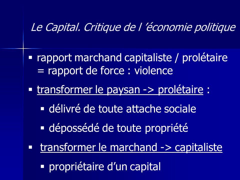 rapport marchand capitaliste / prolétaire = rapport de force : violence transformer le paysan -> prolétaire : délivré de toute attache sociale dépossédé de toute propriété transformer le marchand -> capitaliste propriétaire dun capital Le Capital.