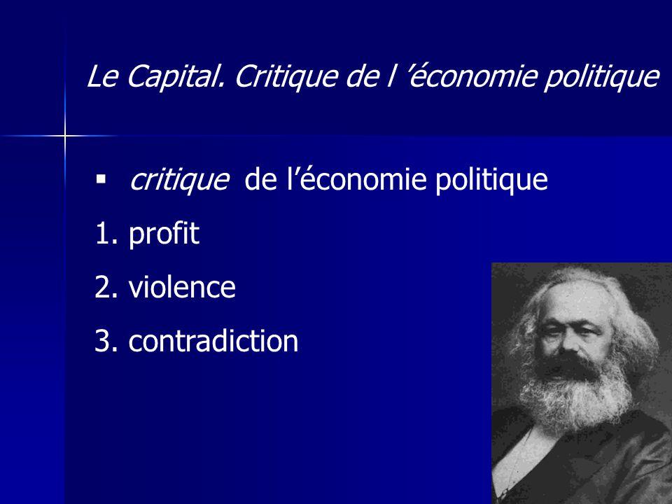 critique de léconomie politique 1. profit 2. violence 3.