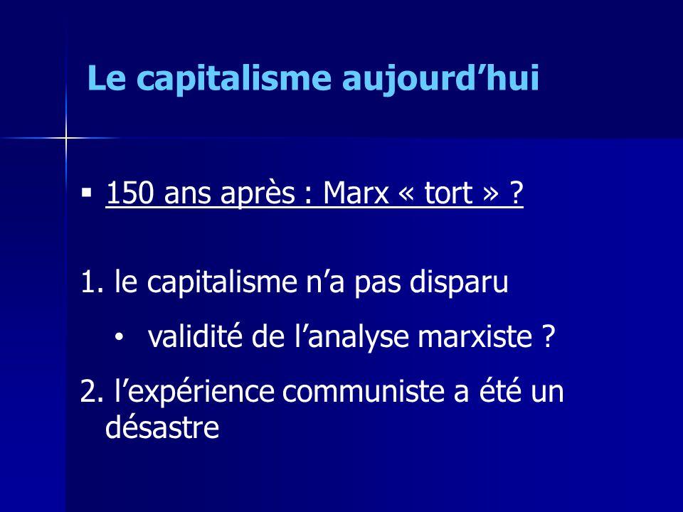 150 ans après : Marx « tort » . 1. le capitalisme na pas disparu validité de lanalyse marxiste .