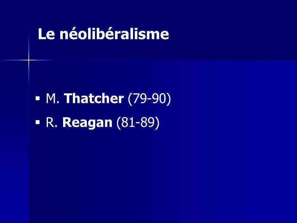 M. Thatcher (79-90) R. Reagan (81-89) Le néolibéralisme
