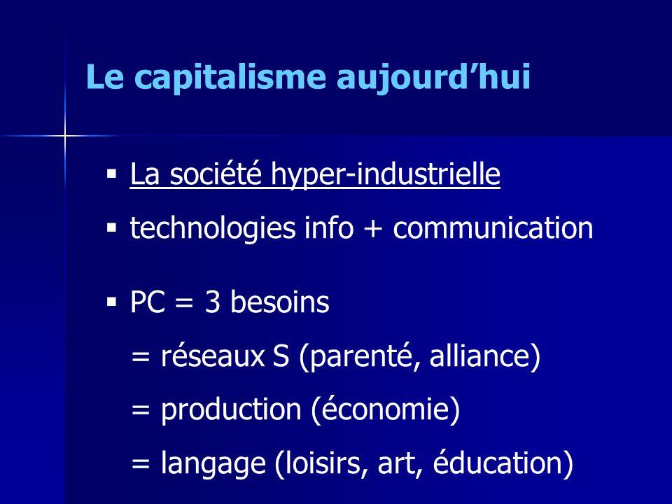 La société hyper-industrielle technologies info + communication PC = 3 besoins = réseaux S (parenté, alliance) = production (économie) = langage (loisirs, art, éducation) Le capitalisme aujourdhui