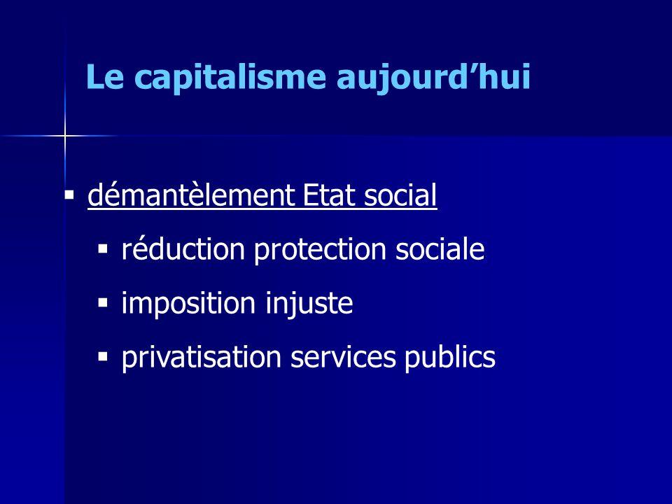 démantèlement Etat social réduction protection sociale imposition injuste privatisation services publics Le capitalisme aujourdhui