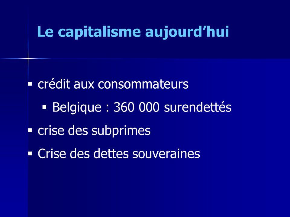 crédit aux consommateurs Belgique : 360 000 surendettés crise des subprimes Crise des dettes souveraines Le capitalisme aujourdhui