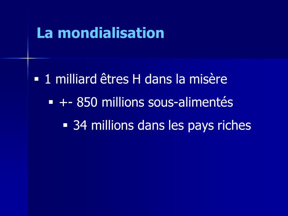 1 milliard êtres H dans la misère +- 850 millions sous-alimentés 34 millions dans les pays riches La mondialisation