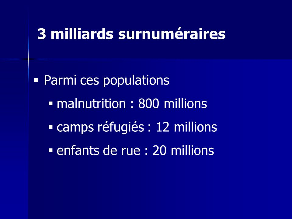 Parmi ces populations malnutrition : 800 millions camps réfugiés : 12 millions enfants de rue : 20 millions 3 milliards surnuméraires