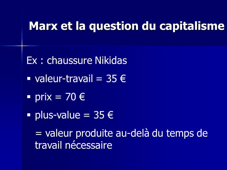 Ex : chaussure Nikidas valeur-travail = 35 prix = 70 plus-value = 35 = valeur produite au-delà du temps de travail nécessaire Marx et la question du capitalisme
