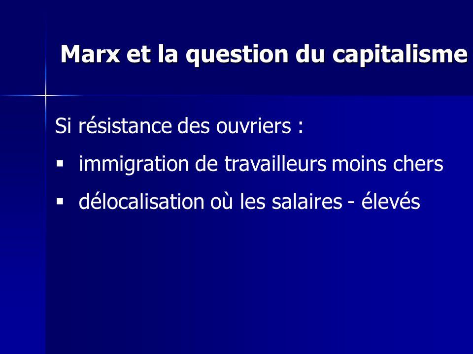 Si résistance des ouvriers : immigration de travailleurs moins chers délocalisation où les salaires - élevés Marx et la question du capitalisme