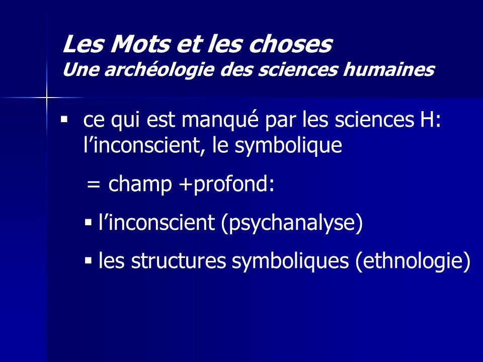 ce qui est manqué par les sciences H: linconscient, le symbolique = champ +profond: linconscient (psychanalyse) les structures symboliques (ethnologie
