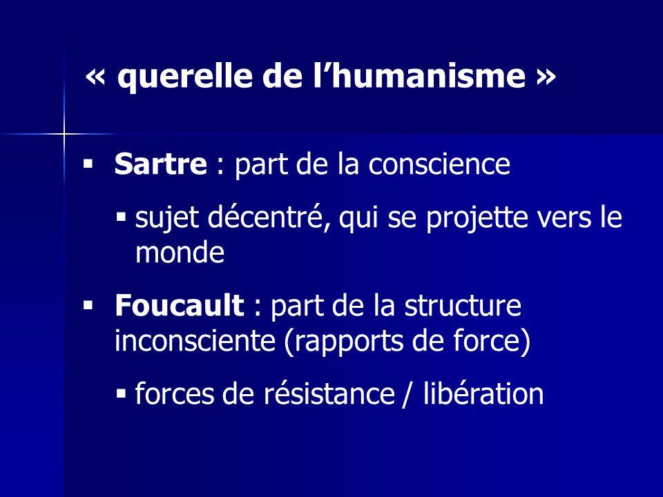 Sartre : part de la conscience sujet décentré, qui se projette vers le monde Foucault : part de la structure inconsciente (rapports de force) forces d