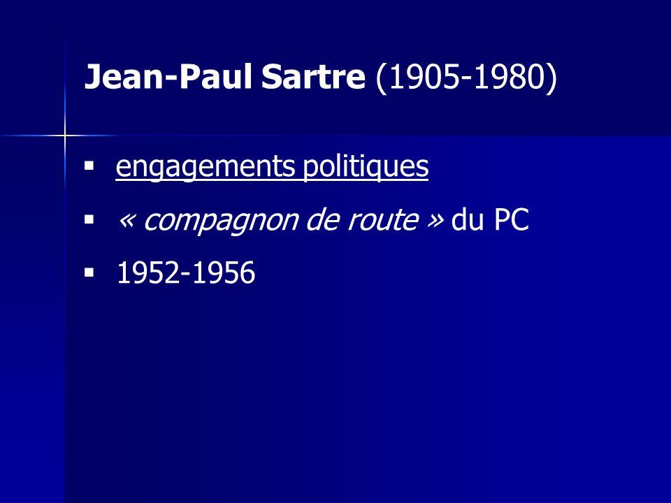 engagements politiques « compagnon de route » du PC 1952-1956 Jean-Paul Sartre (1905-1980)
